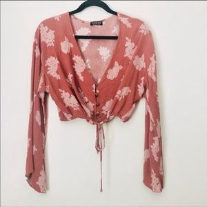 Blush pink floral crop top with bell sleeves!